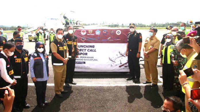 Kakanwil Bea Cukai Sulbagtara Cerah Bangun menghadiri lunching Direct Call Manado-Singapura.